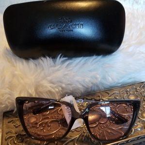 Coach Black Square Pink Flash Sunglasses NWT